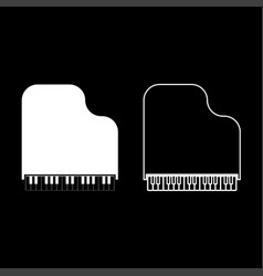 grand piano icon set white color flat style vector image