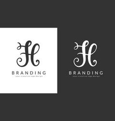 h letter logo design template vector image