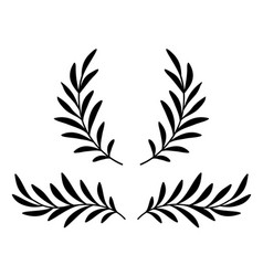Hand drawn olive branches with leaves and wreath vector