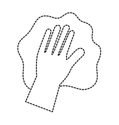 hand wiping with glove vector image