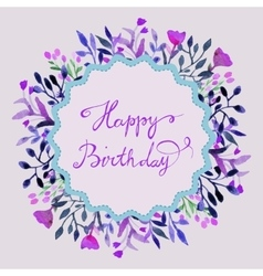 Happy birthday card watercolor round frame vector