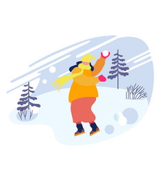 happy cheerful woman in warm clothes throwing vector image