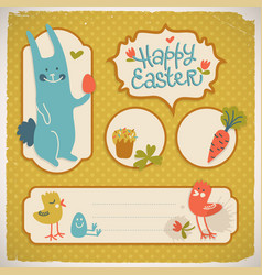 happy easter doodle cards vector image