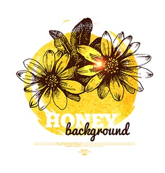 Honey banner with hand drawn sketch and watercolor vector image