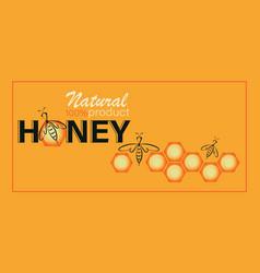 Honey bee template poster emblem label vector