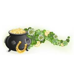 Horseshoe and pot of gold vector image