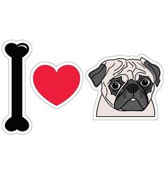 I love pugs vector