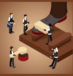 Isometric people polishing shoe vector