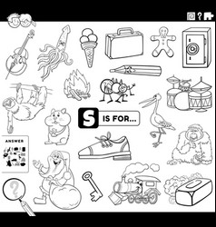 Letter s words educational task coloring book page vector