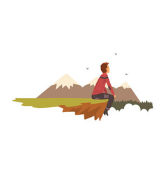 Man sitting on top of the mountain tourist hiking vector