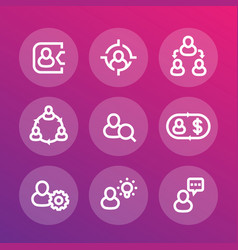 Management human resources hr line icons set vector