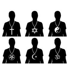 men with religious symbols vector image