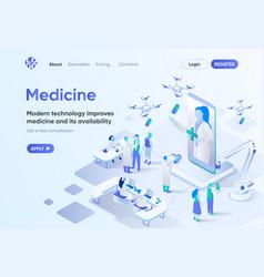 Modern medicine isometric landing page vector