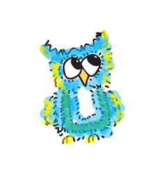modest little blue owl vector image