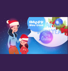 mother and daughter wearing santa hats merry vector image
