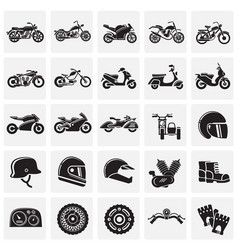 Motorcycle icons set on squares background for vector