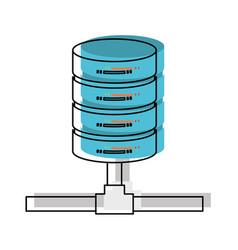 Network server storage icon in watercolor vector