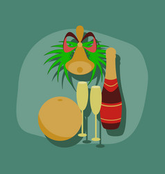 Paper sticker on stylish background champagne bell vector