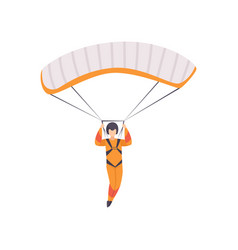 Paratrooper descending with parachute wing vector