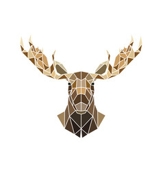 Polygonal style moose face wild animal vector
