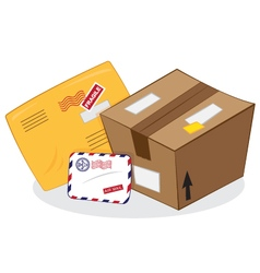 Postal services package yellow envelope letter vector