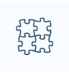 Puzzle sketch icon vector image