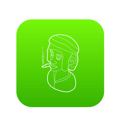 rastafarian man wearing headband and smoking icon vector image