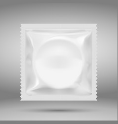 Realistic white blank template packaging condom vector