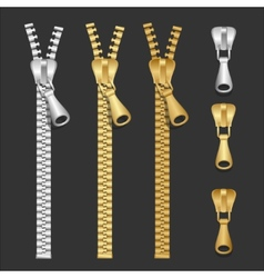 Realistic zippers type set vector