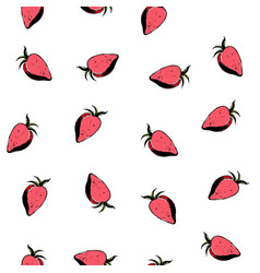 Red strawberries seamless pattern on white vector