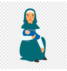 refugee mother baby icon flat style vector image
