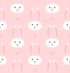 repeated hearts and heads little rabbits vector image