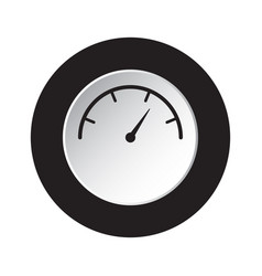 round black white button - gauge dial symbol vector image