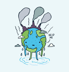 Sad polluted earth with help me message vector