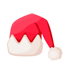 santa claus hat with trim in crown form isolated vector image