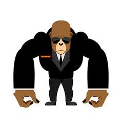 Security guard big gorilla black suit Bodyguard vector image