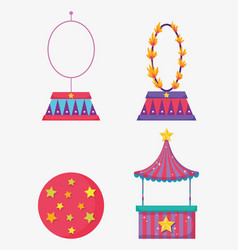 Set fire hoop with ball and circus store vector