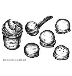 Set hand drawn black and white ice cream vector