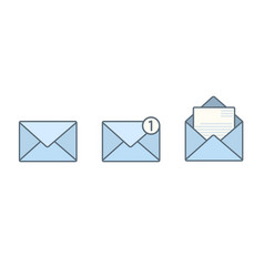 set of blue flat envelopes with receive message vector image