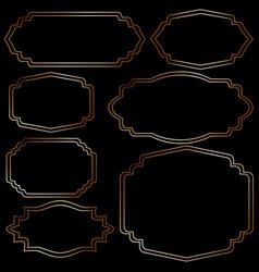 set of golden vintage frames on black background vector image