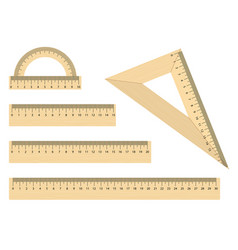 set realistic wooden ruler instruments vector image