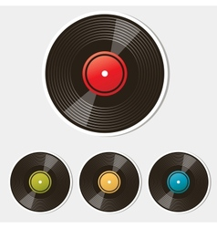 set vinyl records isolated on white vector image