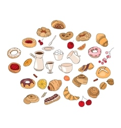 Set with different pastry different taste and vector