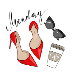 Shoes sunglasses and coffee on a white background vector