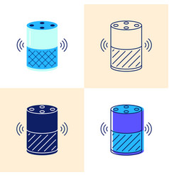 smart speaker icon set in flat and line style vector image