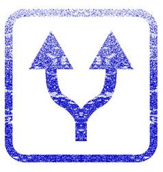 Split arrows up framed textured icon vector