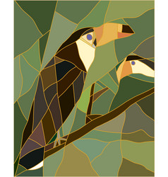 Stained glass of a toucan bird vector