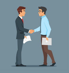 Two businessman handshake good deal vector