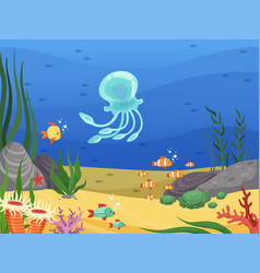 underwater sea life background with fishes and vector image