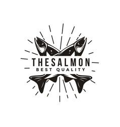 vintage salmon fish logo icon template vector image